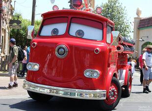 Red the firetruck cruising through Cars Land