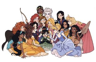 Vanellope with the Disney Princesses