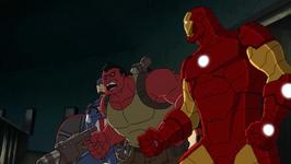 Red Hulk And Captain America Faces Iron Man AUR
