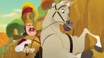 Der Anführer der königlichen Wachen auf seinem Pferd