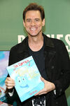 Jim Carrey promoting his new book How Roland Rolls