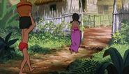Mowgli is folowing Shanti to the man village