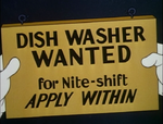 Dishwasher wanted sign