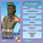 Star Wars Resistance character card - Tam