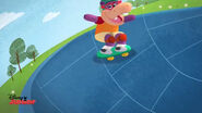 Animated hallie skateboarding