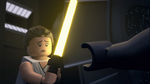 Sad Rey looking at Ben's hand - The LEGO Star Wars Holiday Special