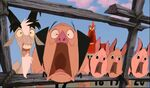 Pearl's animals screaming upon seeing the off-rail train