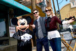 Andrew Garfield and Emma Stone with Mickey Mouse