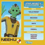 Star Wars Resistance character card - Neeku