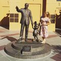 The statue of Walt Disney and Mickey Mouse