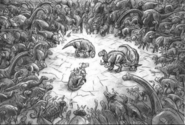 Disney Dinosaur concept the herd in gather circle