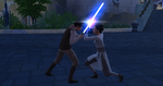 The Sims 4 Star Wars Journey to Batuu - Rey and Kylo's children dueling