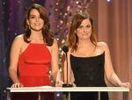 Tina Fey & Amy Poehler speak onstage at SAG Awards