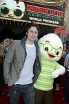 Zach Braff with Chicken Little at CL premiere