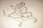 Disney's Aladdin - Sketch of Aladdin and Jasmine by John Alvin