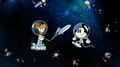 Pluto and Mickey in space