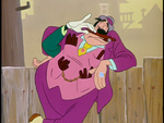 Goofy wiping a cigar on a guy's nose
