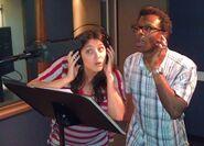 Phil LaMarr & Anndi McAfee recording booth
