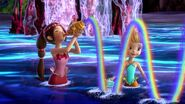 Cora and Oona perform in the water show