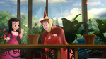 Flora checks on Princess Vivians Plant