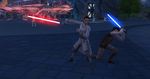 The Sims 4 Star Wars Journey to Batuu - Rey and Kylo's children lightsaber duel