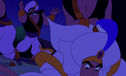 Aladdin lands on the ground after being tossed by Jafar's guards
