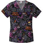 Cheshire cat scrub top black