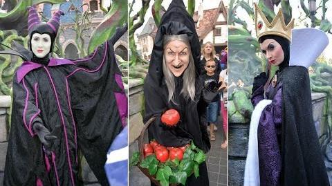Disney Villains Montage at Disneyland Paris Halloween - Maleficent's Court Hag, Evil Queen, Gaston+