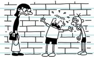 Rowley blubbers to Mrs. Craig as Greg facepalms