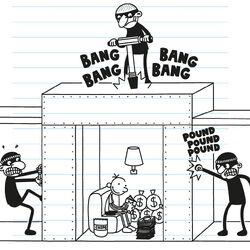 Greg sets a bobby trap for the burglars.jpg