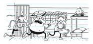Greg's Cabinmates Running Into the Cabin