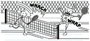 Greg and Rowley playing tennis at country club in flashback