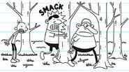 Emilio smacks into tree