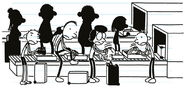The Heffley Family put the coats and shoes into the conveyor belt