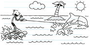 Greg imagines riding the turtles with dolphin in paradise
