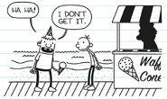 Rowley tells Greg that he don't get it ice-cream joke