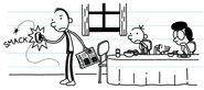 Frank Heffley attempting to kill cockroach with his left side shoe