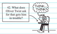 Greg taking a test on Oliver Twist