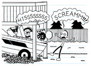 Raccoon hissing at Frank as he screams