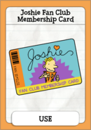 Joshie Fan Club Membership Card