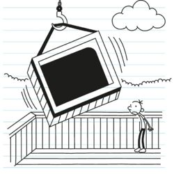 Greg sees a hot tub being lifted by the crane.jpg