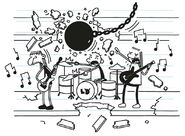 Wrecking Ball smashes wall as Rodrick and his bandmates are doing the band