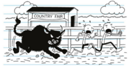 Greg and Rodrick are chased by a charging bull
