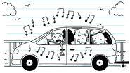 Rodrick listens to heavy-metal music in full blast as he drives