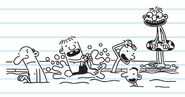 Greg and his friends enjoying in the pool