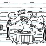 The Heffley Family helping out to clean Grandpa in the three generations.jpg