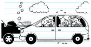 The Heffley's Van rear-ended the car in front