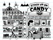 Greg walks past the Halloween candies in supermarket