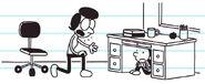 Greg hides in teacher's desk as Susan helps him