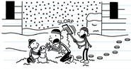 Greg and Rodrick playing snow with Frank